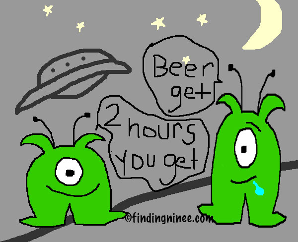 Aliens tell me I get 2 hours and want beer
