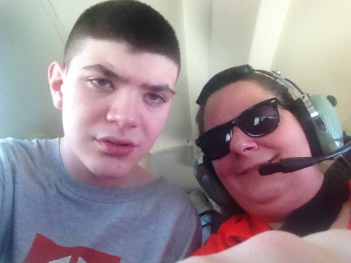 Beth and her son Alex on an Angel Flight