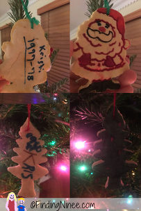 80s christmas ornaments on a tree