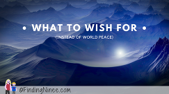 what to wish for instead of world peace finding ninee